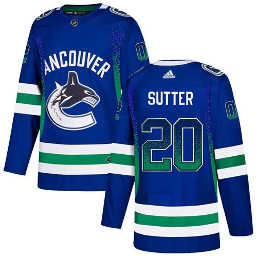 Adidas Canucks #20 Brandon Sutter Blue Home Authentic Drift Fashion Stitched NHL Jersey