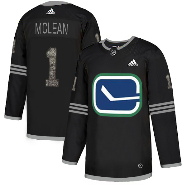 Adidas Canucks #1 Kirk Mclean Black_1 Authentic Classic Stitched NHL Jersey
