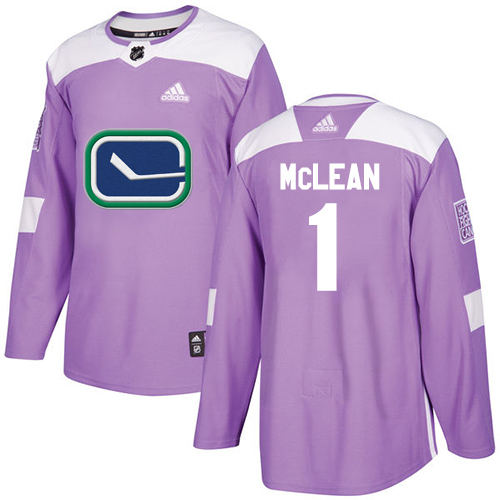 Adidas Canucks #1 Kirk Mclean Purple Authentic Fights Cancer Stitched NHL Jersey