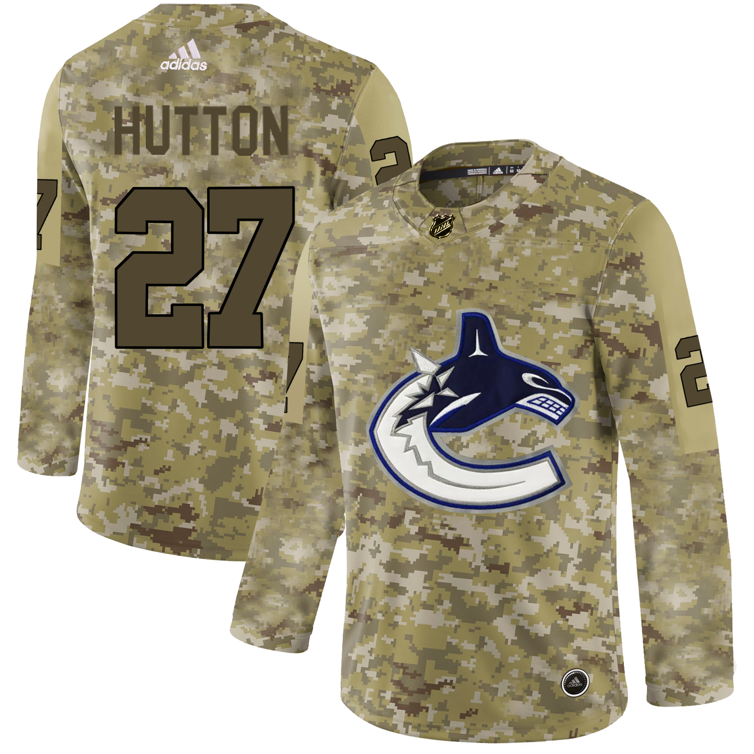 Adidas Canucks #27 Ben Hutton Camo Authentic Stitched NHL Jersey
