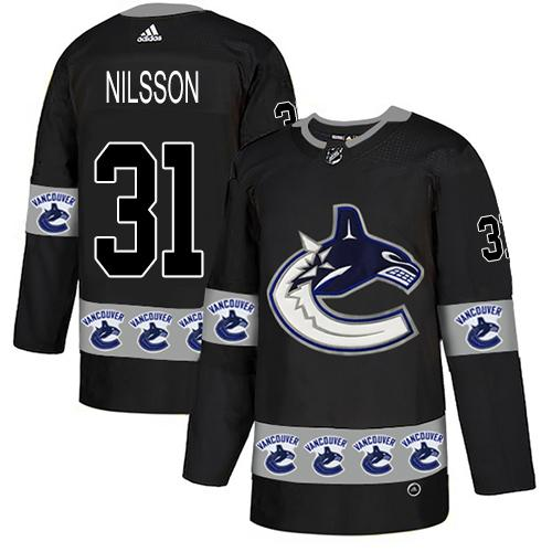 Adidas Canucks #31 Anders Nilsson Black Authentic Team Logo Fashion Stitched NHL Jersey