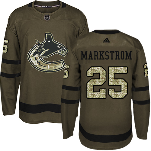 Adidas Canucks #25 Jacob Markstrom Green Salute to Service Stitched NHL Jersey