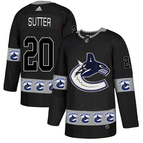 Adidas Canucks #20 Brandon Sutter Black Authentic Team Logo Fashion Stitched NHL Jersey