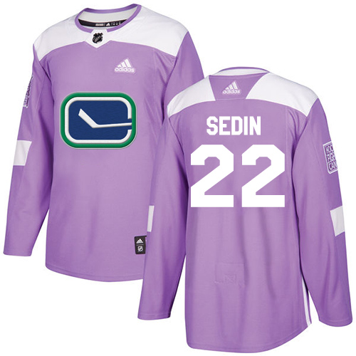 Adidas Canucks #22 Daniel Sedin Purple Authentic Fights Cancer Stitched NHL Jersey