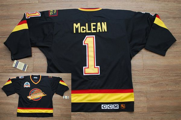 Canucks #1 Kirk Mclean Stitched Black CCM Throwback Vintage NHL Jersey