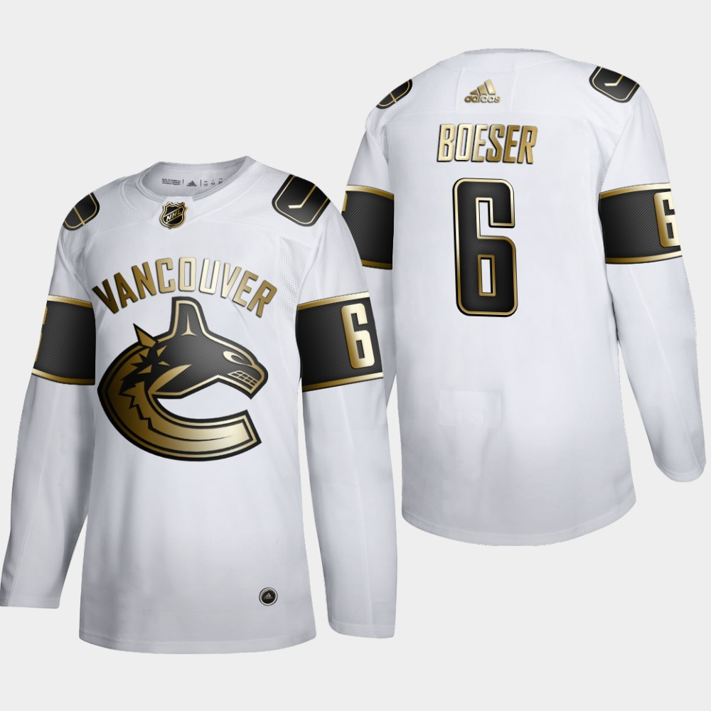 Vancouver Canucks #6 Brock Boeser Men's Adidas White Golden Edition Limited Stitched NHL Jersey