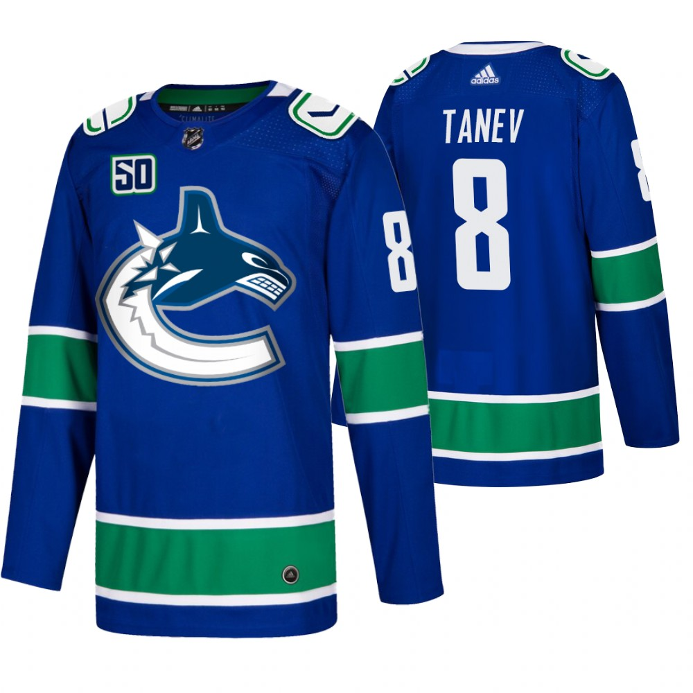 Men's Vancouver Canucks #8 Christopher Tanev Adidas Blue 2019-20 Home Authentic NHL Jersey