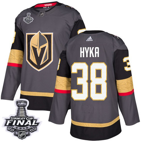 Adidas Golden Knights #38 Tomas Hyka Grey Home Authentic 2018 Stanley Cup Final Stitched NHL Jersey