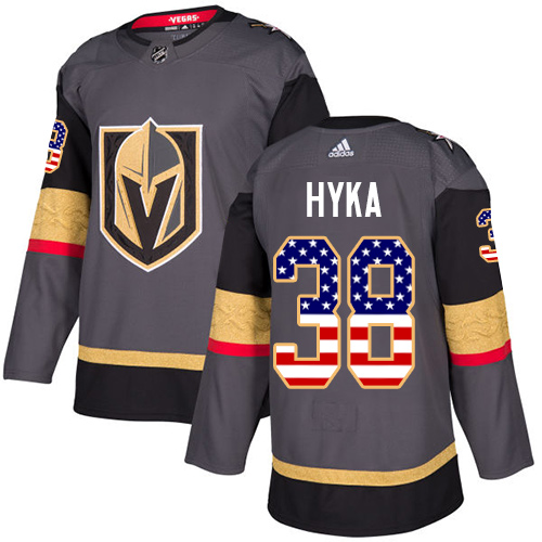 Adidas Golden Knights #38 Tomas Hyka Grey Home Authentic USA Flag Stitched NHL Jersey