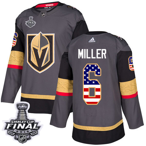 Adidas Golden Knights #6 Colin Miller Grey Home Authentic USA Flag 2018 Stanley Cup Final Stitched NHL Jersey