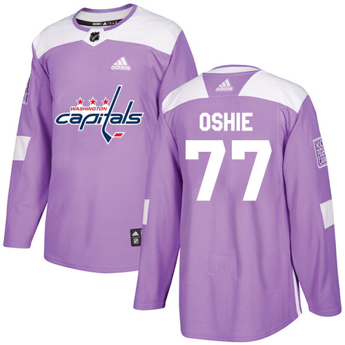 Adidas Capitals #77 T.J. Oshie Purple Authentic Fights Cancer Stitched NHL Jersey