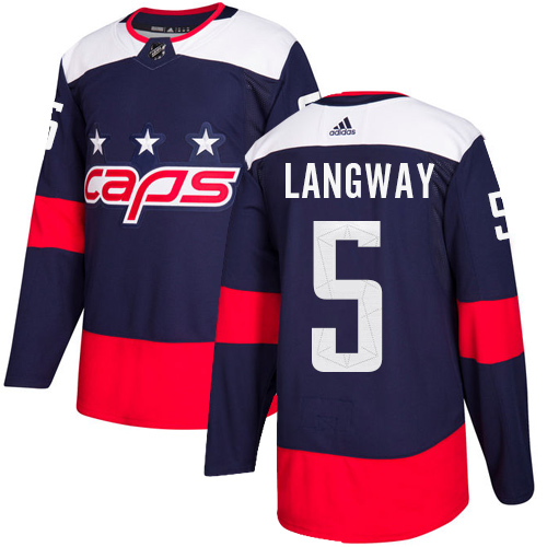Adidas Capitals #5 Rod Langway Navy Authentic 2018 Stadium Series Stitched NHL Jersey