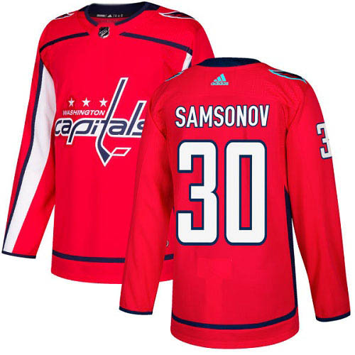 Adidas Capitals #30 Ilya Samsonov Red Home Authentic Stitched NHL Jersey