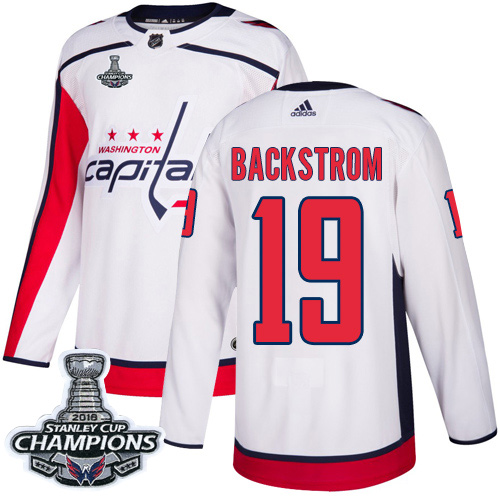 Adidas Capitals #19 Nicklas Backstrom White Road Authentic Stanley Cup Final Champions Stitched NHL Jersey