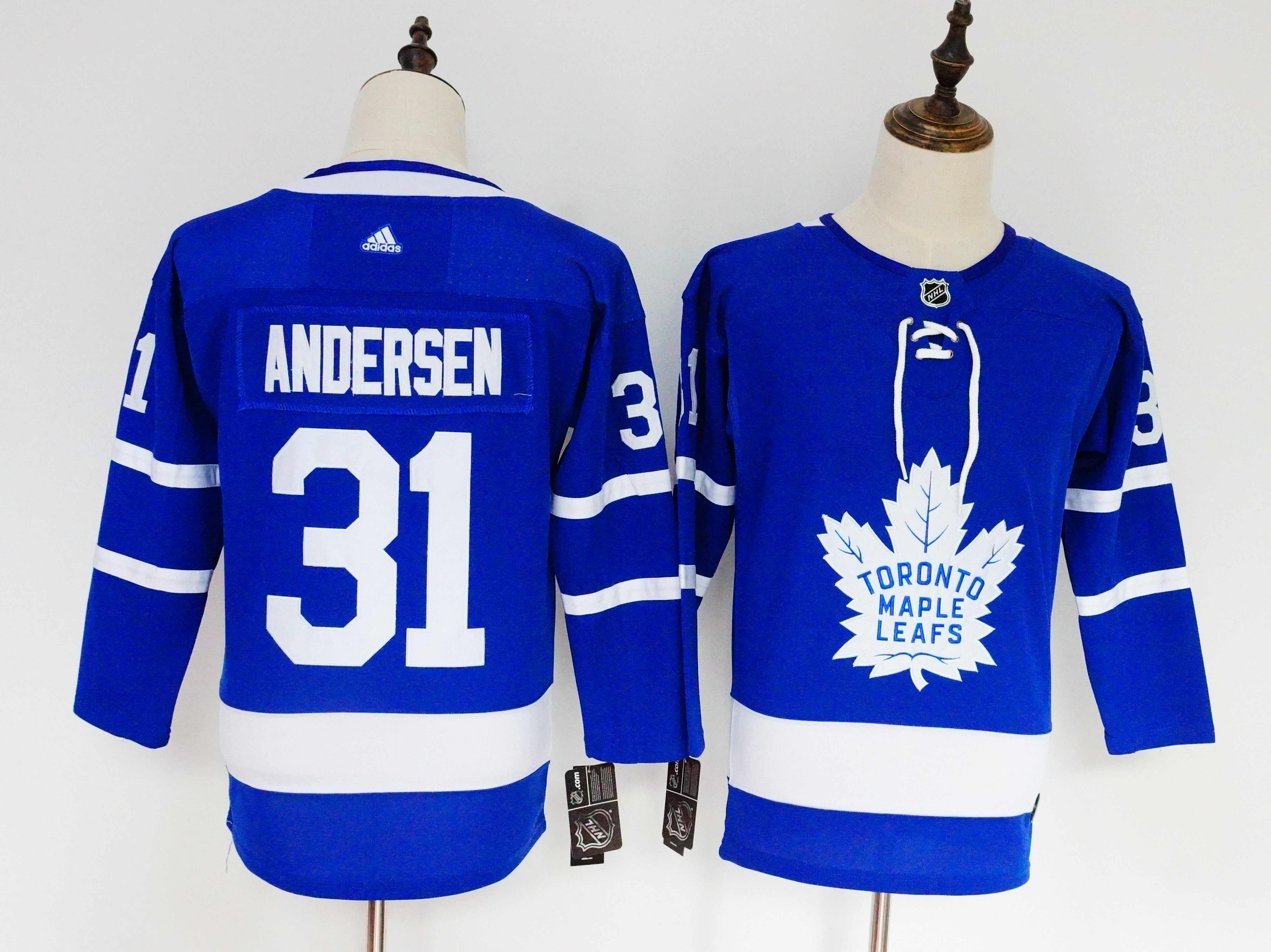Men's Adidas Toronto Maple Leafs #31 Frederik Andersen Blue Stitched NHL Jersey