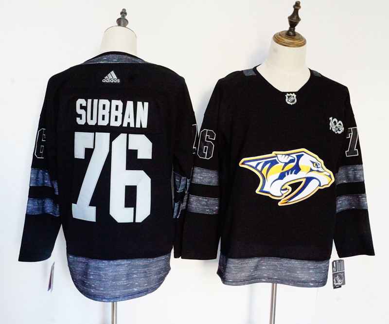 Men's Adidas Nashville Predators #76 PK Subban Black 1917-2017 100th Anniversary Stitched NHL Jersey
