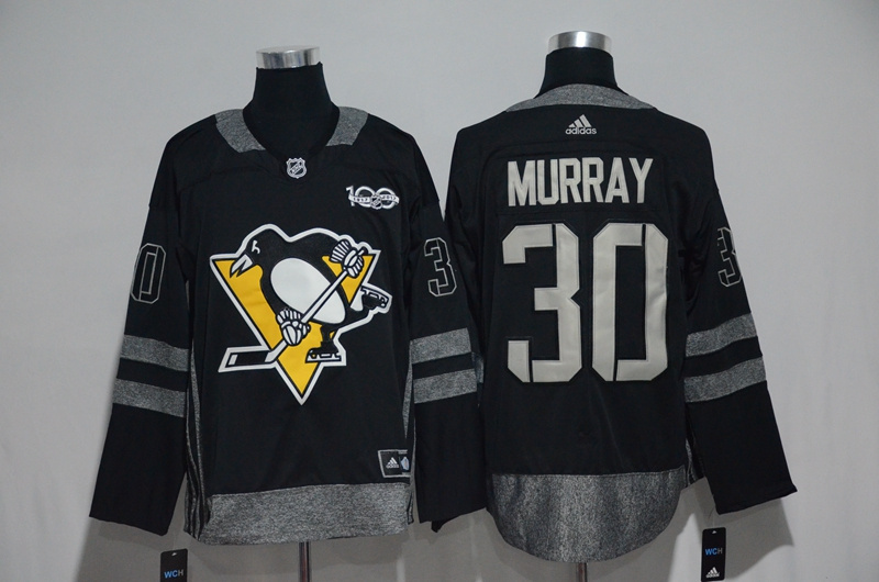 Pittsburgh Penguins #30 Matt Murray Black Men's 1917-2017 100th Anniversary Stitched NHL Jersey