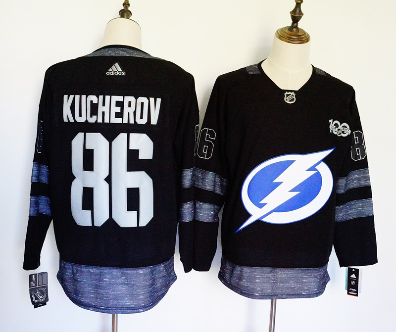 Men's Adidas Tampa Bay Lightning #86 Nikita Kucherov Black 1917-2017 100th Anniversary Stitched NHL Jersey