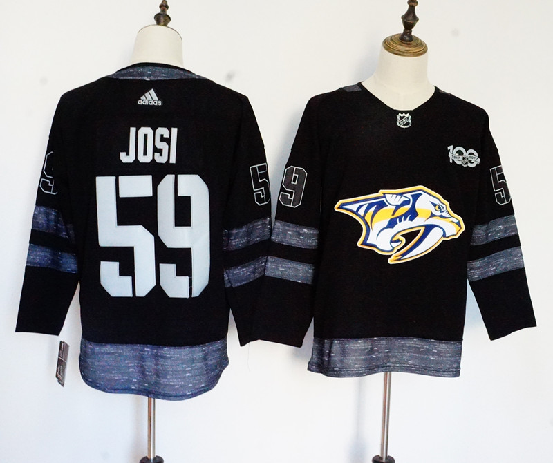 Men's Adidas Nashville Predators #59 Roman Josi Black 1917-2017 100th Anniversary Stitched NHL Jersey