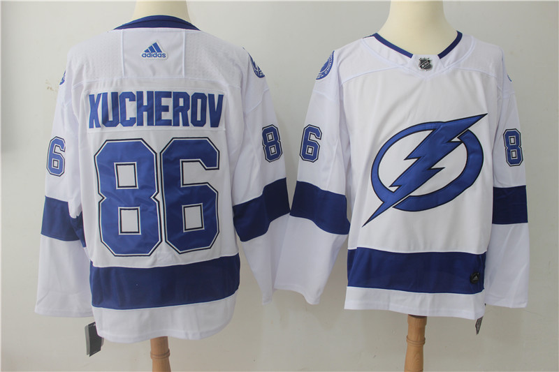 Men's Adidas Tampa Bay Lightning #86 Nikita Kucherov White Stitched NHL Jersey