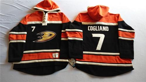 Ducks #7 Andrew Cogliano Black Sawyer Hooded Sweatshirt Stitched NHL Jersey