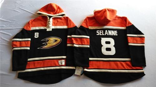Ducks #8 Teemu Selanne Black Sawyer Hooded Sweatshirt Stitched NHL Jersey