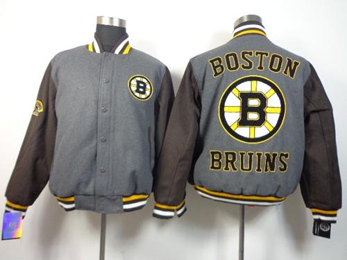 Boston Bruins Blank Satin Button-Up Grey NHL Jacket