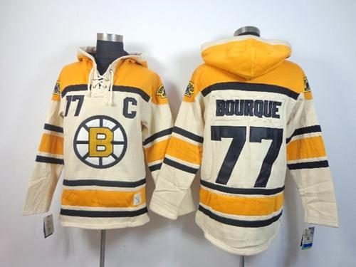 Bruins #77 Ray Bourque Cream Sawyer Hooded Sweatshirt Stitched NHL Jersey