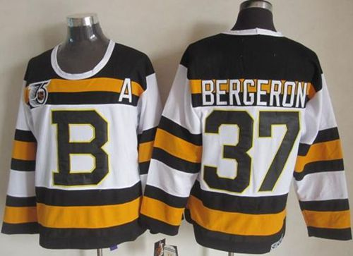 Bruins #37 Patrice Bergeron White CCM Throwback 75TH Stitched NHL Jersey