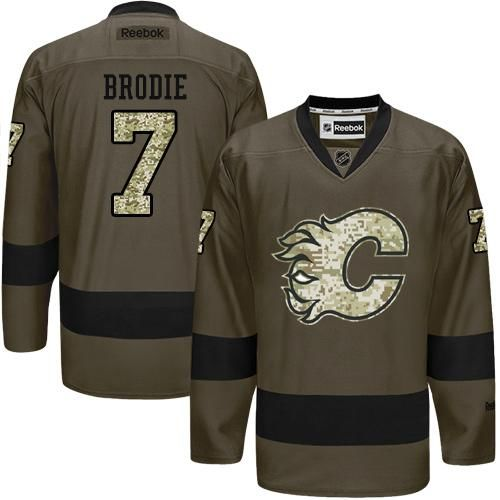 Flames #7 TJ Brodie Green Salute to Service Stitched NHL Jersey