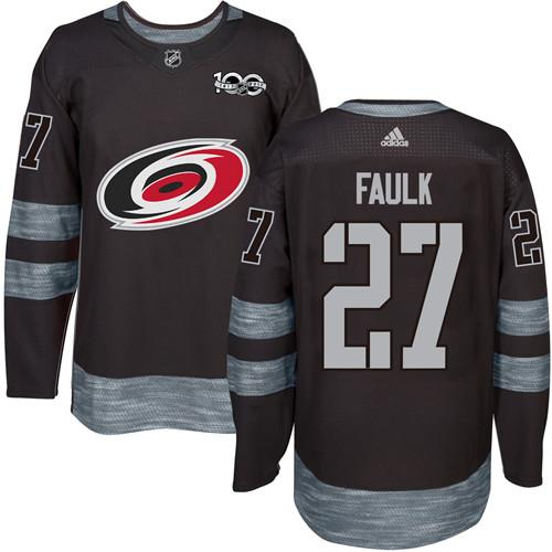 Hurricanes #27 Justin Faulk Black 1917-2017 100th Anniversary Stitched NHL Jersey