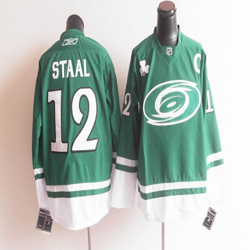 Hurricanes St Patty's Day #12 Eric Staal Green Stitched NHL Jersey