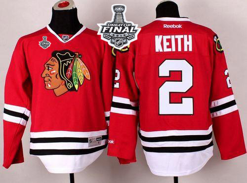 Blackhawks #2 Duncan Keith Red 2015 Stanley Cup Stitched NHL Jersey