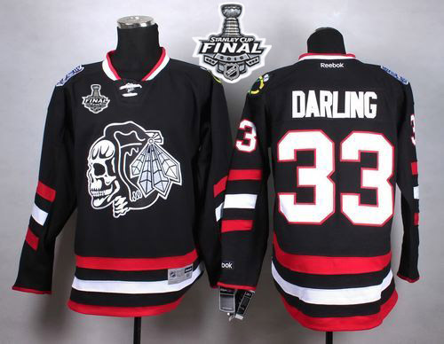 Blackhawks #33 Scott Darling Black(White Skull) 2014 Stadium Series 2015 Stanley Cup Stitched NHL Jersey