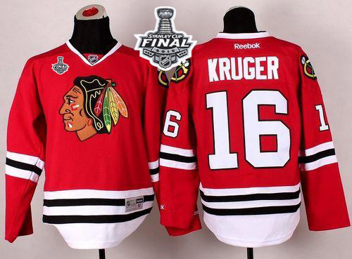 Blackhawks #16 Marcus Kruger Red 2015 Stanley Cup Stitched NHL Jersey