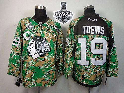 Blackhawks #19 Jonathan Toews Camo Veterans Day Practice 2015 Stanley Cup Stitched NHL Jersey