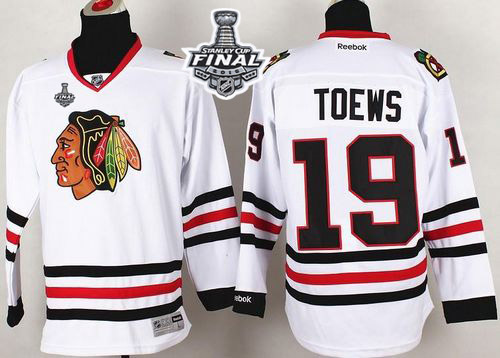 Blackhawks #19 Jonathan Toews White 2015 Stanley Cup Stitched NHL Jersey