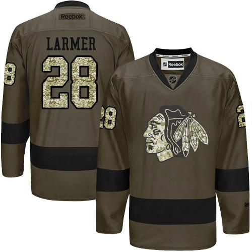 Blackhawks #28 Steve Larmer Green Salute to Service Stitched NHL Jersey