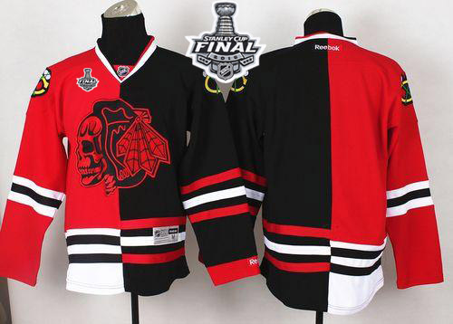 Blackhawks Blank Red/Black Split Red Skull 2015 Stanley Cup Stitched NHL Jersey