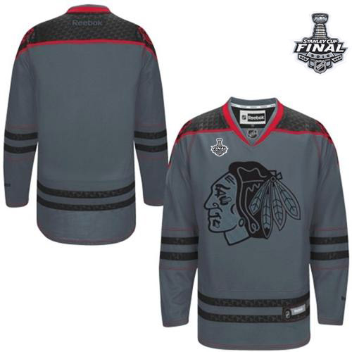 Blackhawks Blank Charcoal Cross Check Fashion 2015 Stanley Cup Stitched NHL Jersey