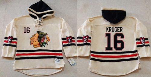 Blackhawks #16 Marcus Kruger Cream Heavyweight Pullover Hoodie Stitched NHL Jersey