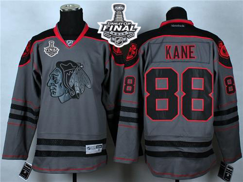 Blackhawks #88 Patrick Kane Charcoal Cross Check Fashion 2015 Stanley Cup Stitched NHL Jersey