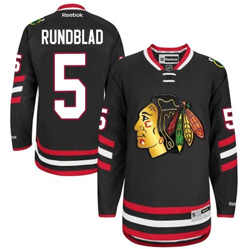 Blackhawks #5 David Rundblad Black 2014 Stadium Series Stitched NHL Jersey