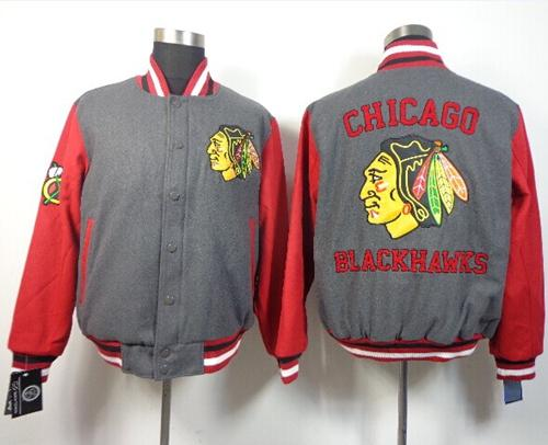 Chicago Blackhawks Satin Button-Up Grey NHL Jacket