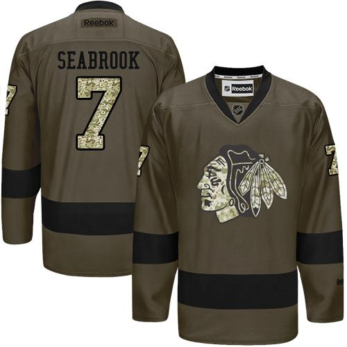 Blackhawks #7 Brent Seabrook Green Salute to Service Stitched NHL Jersey
