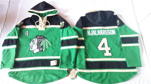 Blackhawks #4 Niklas Hjalmarsson Green St. Patrick's Day McNary Lace Hoodie Stitched NHL Jersey