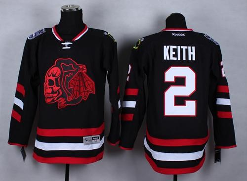 Blackhawks #2 Duncan Keith Black(Red Skull) 2014 Stadium Series Stitched NHL Jersey