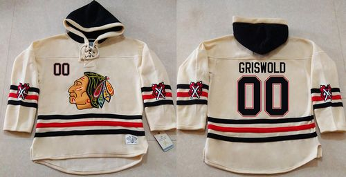 Blackhawks #00 Clark Griswold Cream Heavyweight Pullover Hoodie Stitched NHL Jersey