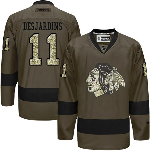Blackhawks #11 Andrew Desjardins Green Salute to Service Stitched NHL Jersey