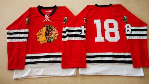 Mitchell And Ness 1960-61 Blackhawks #18 Denis Savard Red Stitched NHL Jersey